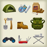 Hike equipment icon set Royalty Free Stock Image