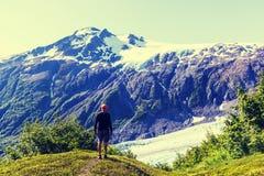 Hike in Exit glacier Stock Photo