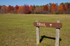 Hike in Fall. Hiking Trail Sign at Bob Sandlin State Park Texas in fall time Royalty Free Stock Photos