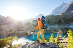 Hike in Fann mountains stock photo