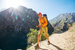 Hike in Fann mountains Stock Image