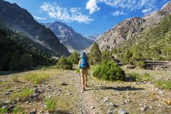 Hike in Fann mountains royalty free stock images