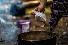 Hike food. Meal cooking at the hike time Lithuania Stock Images