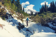 Hike in Glacier Park Stock Photo