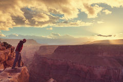 Hike in Grand Canyon Stock Images