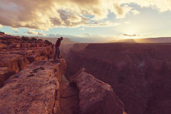 Hike in Grand Canyon Royalty Free Stock Photography