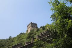 In a hike on the Great Wall of China, the site Badalin royalty free stock image