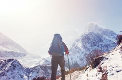 Hike in Himalayas. Hiker in Himalayas mountain. Nepal Stock Images