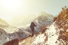 Hike in Himalayas. Hiker in Himalayas mountain. Nepal Royalty Free Stock Photos