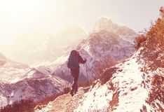 Hike in Himalayas. Hiker in Himalayas mountain. Nepal Stock Photos