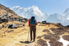 Hike in Himalayas Stock Photos