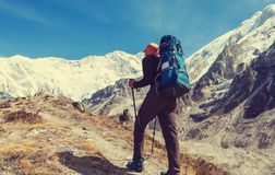 Hike in Himalayas Stock Photography