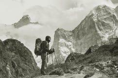 Hike in Himalayas Stock Photo
