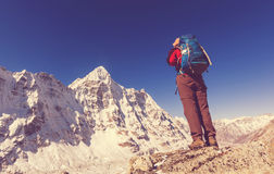 Hike in Himalayas. Hiker in Himalayas mountain. Nepal Royalty Free Stock Photography