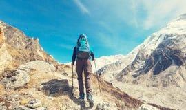 Hike in Himalayas. Hiker in Himalayas mountain. Nepal Royalty Free Stock Image