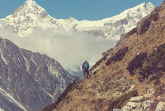 Hike in Himalayas. Hiker in Himalayas mountain. Nepal Royalty Free Stock Photo