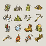 Hike icons. Set of beautiful hand- drawn hike icons Royalty Free Stock Photos