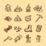 Hike icons. Set of beautiful hand- drawn hike icons Royalty Free Stock Photo