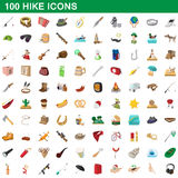 100 hike icons set, cartoon style. 100 hike icons set in cartoon style for any design vector illustration Stock Photos