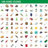 100 hike icons set, cartoon style. 100 hike icons set in cartoon style for any design illustration royalty free illustration