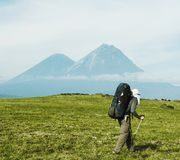 Hike in Kamchatka royalty free stock photo