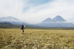 Hike in Kamchatka Stock Photography
