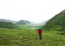 Hike in Kamchatka royalty free stock images