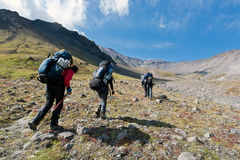 Hike in Kamchatka valley. Royalty Free Stock Photography