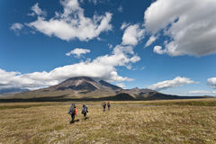 Hike in Kamchatka valley. Royalty Free Stock Images