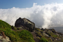 Hike in the Kamchatka volcanic landscape Stock Photography