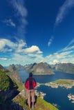 Hike in Lofoten Royalty Free Stock Photos