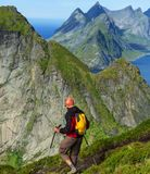 Hike in Lofoten Royalty Free Stock Photography