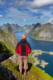 Hike in Lofoten Stock Image