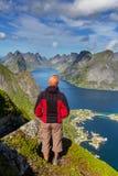 Hike in Lofoten. Norway stock image