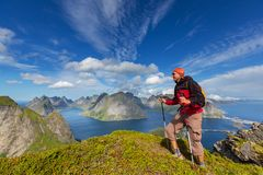 Hike in Lofoten Royalty Free Stock Photos