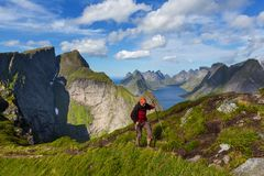 Hike in Lofoten Stock Photos