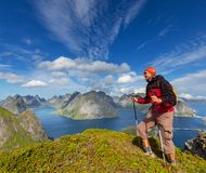 Hike in Lofoten Stock Photography