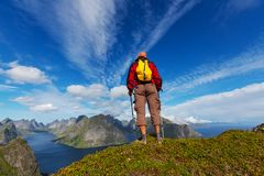 Hike in Lofoten Stock Images