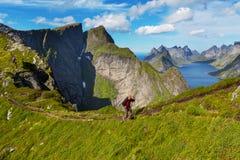 Hike in Lofoten Royalty Free Stock Image