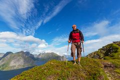 Hike in Lofoten Royalty Free Stock Photo