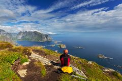 Hike in Lofoten Stock Photo