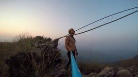 Hike - man hiker walking. Hiking man walking alone in beautiful landscape nature. stock video