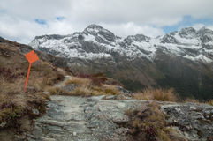 Hike marker at Routeburn Track Royalty Free Stock Images
