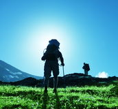 Hike in mountains. Backpackers  in hike on Caucasus  mountain Stock Images