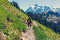Hike in mountains Stock Image