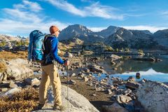 Hike in mountains royalty free stock photo