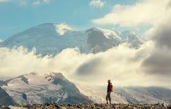 Hike on mt.Rainier Stock Photos