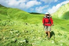 Hike na montanha foto de stock