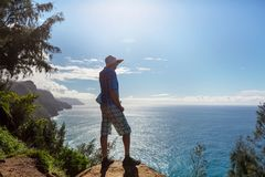 Hike in Na Pali. Coast in Kauai icland, Hawaii Stock Image