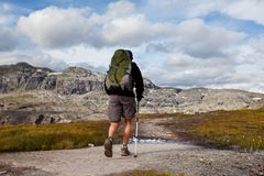Hike in Norway. Mountains near Odda,Trolltynga trekking Stock Images